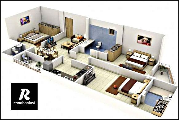 Model Desain Rumah Minimalis 3 Kamar Tidur