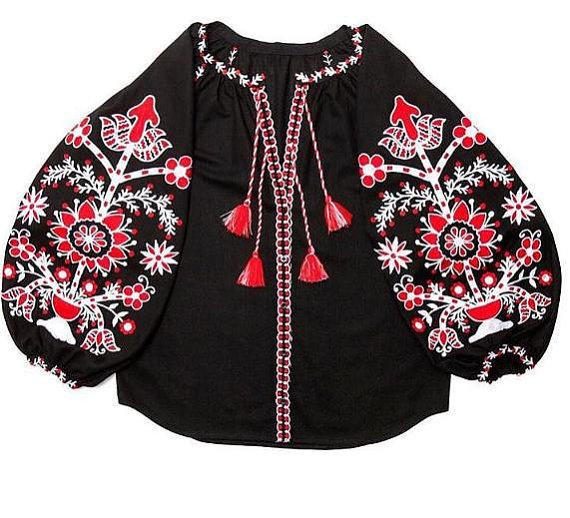 Ukrainian Folk Boho Blouse with Modern Embroidered