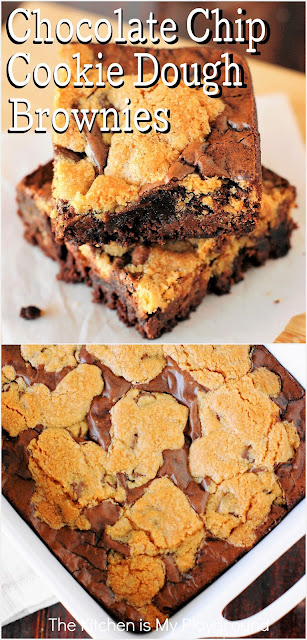 Chocolate Chip Cookie Dough Brownies ~ Two classic favorites baked up together in one pan! With these chocolate chip cookie-topped brownies, no one will be able to resist the deliciousness.  www.thekitchenismyplayground.com