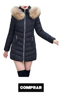 SHOBDW Moda Invierno Mujer Chaqueta Largo Grueso Caliente