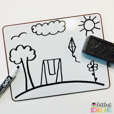 "Rhyme Away is a great activity when you only have a few extra minutes! Draw simple pictures on a whiteboard and invite children to erase a word that rhymes with a word or phrase you say. For example, ""I have a ring so please erase the ______."" A student will come up and erase the swing."
