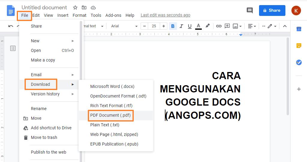 cara membuat pdf di google docs, how to creat a google doc a pdf