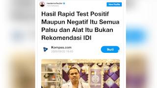 IDI Sebut Hasil Rapid Test Semuanya Palsu, dr Tirta: Ngeri Iki, Suangaaarrr...