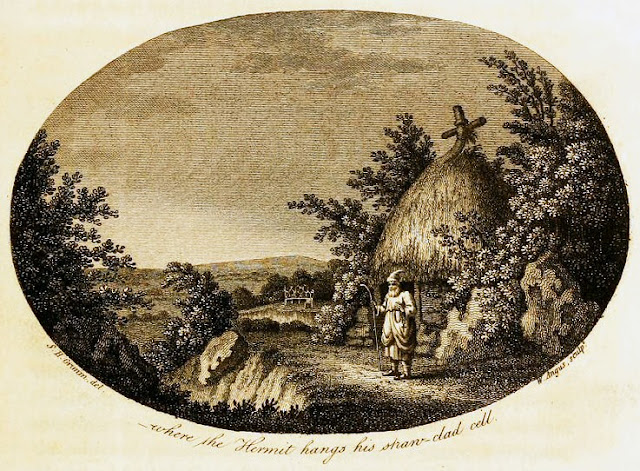 "- illustration ""Where the hermit hangs his straw-clad cell"" in the 1813 edition Gilbert White's The Natural History and Antiquities of Selborne"