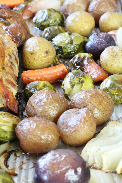 A closeup of roasted vegetables