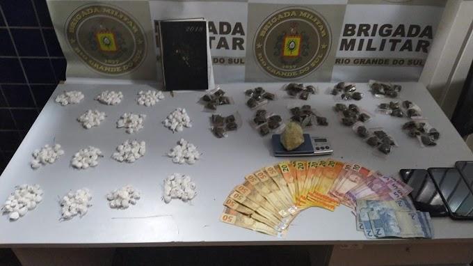 Brigada Militar realiza quatro prisões e apreende mais de 300 porções de drogas em Gravataí