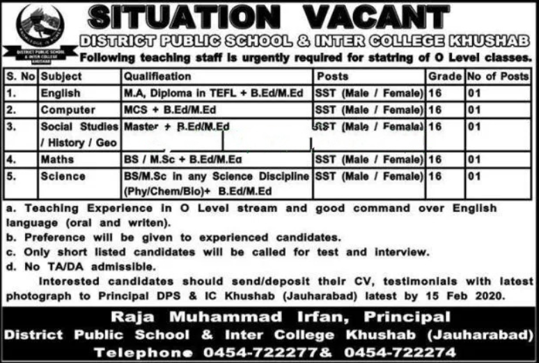 Teaching Jobs in District Public School & Inter College 2020