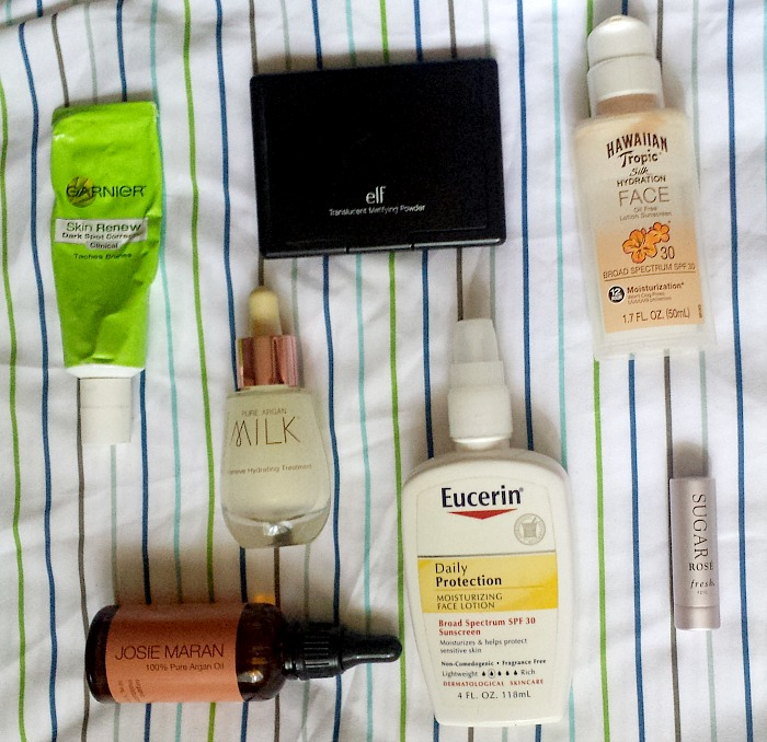 garnier skin renew dark spot corrector,josie maran 100% pure argan oil, josie maran pure argan oil intensive hydrating treatment, hawaiian tropic faces sunscreen spf 30, elf studio translucent mattifying powder, fresh rose lip treatment, eucerin daily protection moisturizing lotion spf 30 reviews and monthly favorites, august beauty roundup 2016