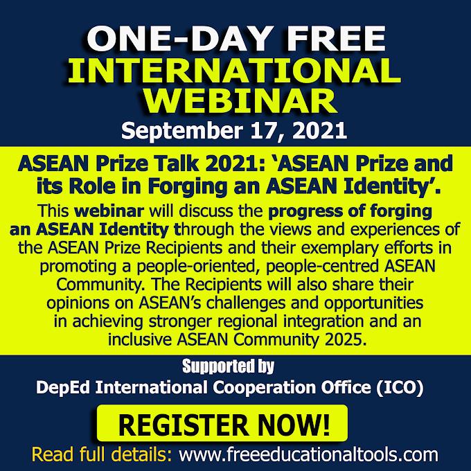 One-Day International Webinar on ASEAN Secretariat and ASEAN Studies Centre of ISEAS | September 17, 2021 | Register Here