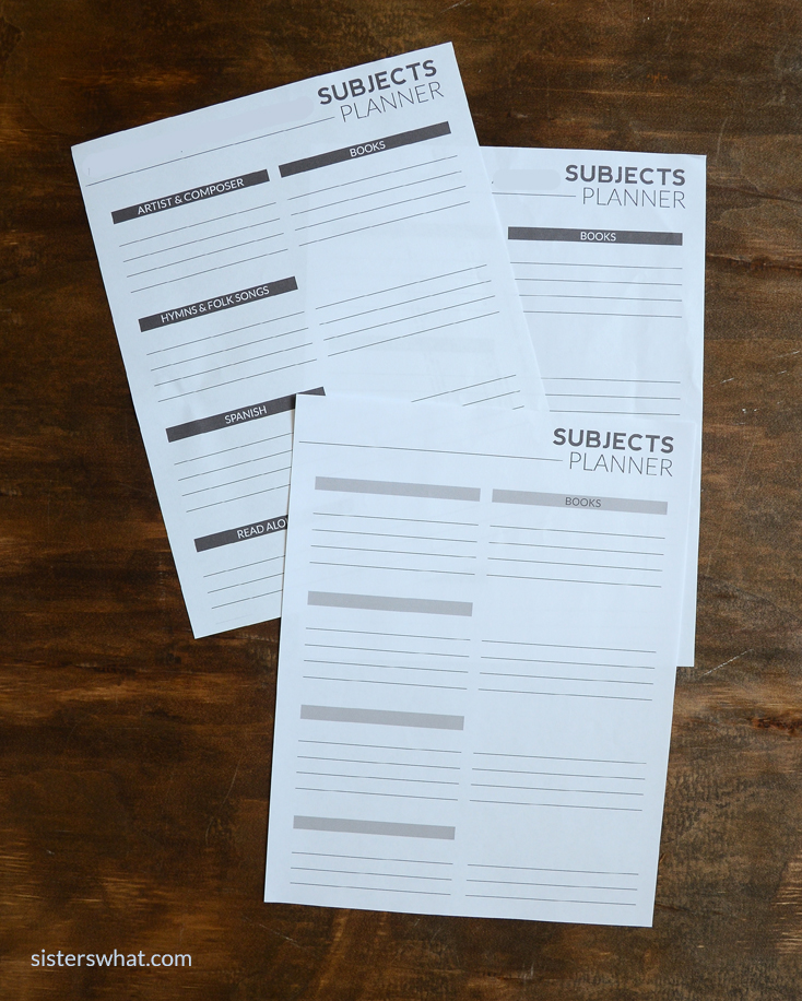 homeschool subject free printable