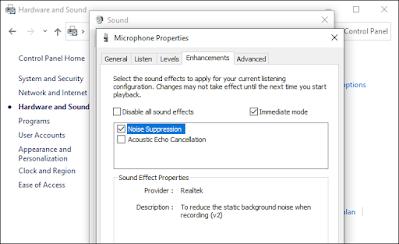Pada tab 'Enhancement', aktifkan 'Noise Suppression'