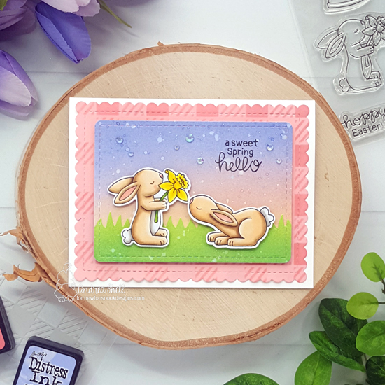 A Sweet Spring Hello Card by Andrea Shell | Bitty Bunnies Stamp Set, Hop Into Spring Stamp Set, Gingham Stencil, Land Borders Die Set and Frames & Flags Die Set by Newton's Nook Designs #newtonsnook #handmade