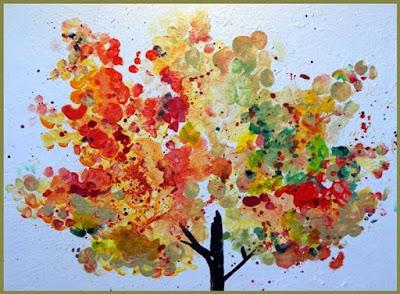 finger painting untuk anak usia dini, membuat pohon