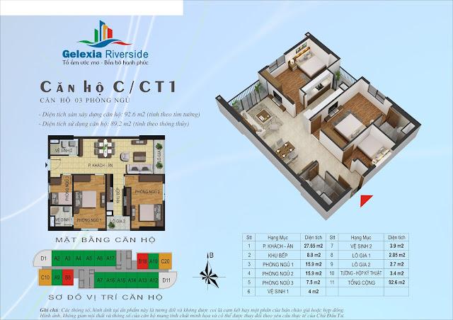 Thiết kế căn hộ C - 3 phòng ngủ tòa CT1 Gelexia Riverside