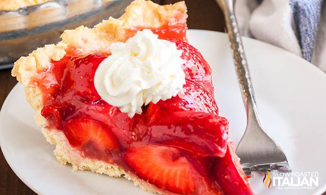 Fresh Strawberry Pie slice on a white plate