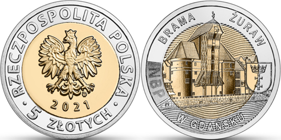 Poland 5 zlotys 2021 - The Crane Gate in Gdańsk
