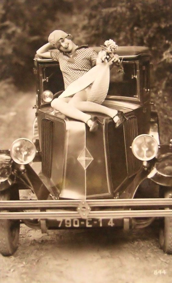 Flapper Girl Posing With Classic Car Ca Vintage Everyday