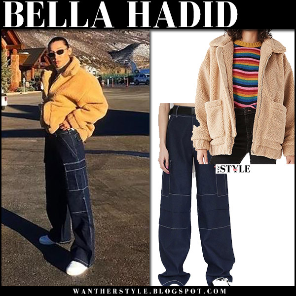 Bella Hadid in beige teddy jacket and dark denim pants i.am.gia winter aspen style december 28