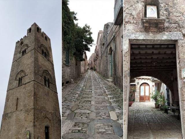 Torre campanaria e vie di Erice