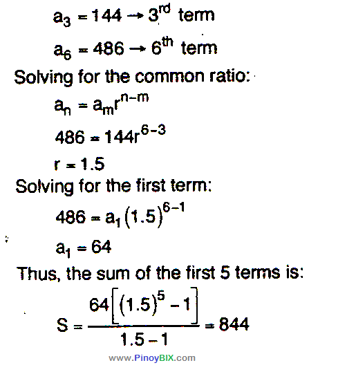 Solution: Find the sum of the first five terms of the