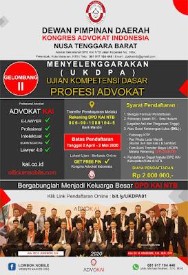 Gelombang ke II : Pendaftaran Ujian Kompetensi Dasar Profesi Advokat Resmi di Buka