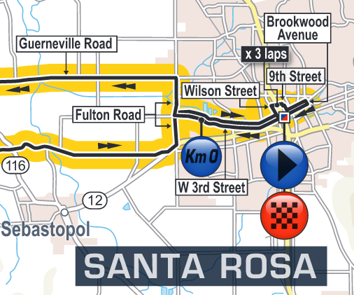 Santa Rosa downtown map Tour of California 2016