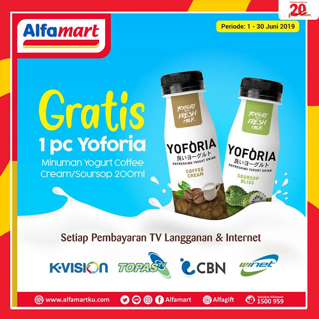 #Alfamart - #Promo Gratis 1PC Yoforia Setiap Pembayaran TV Langganan & Internet (s,d 30 Juni 2019)