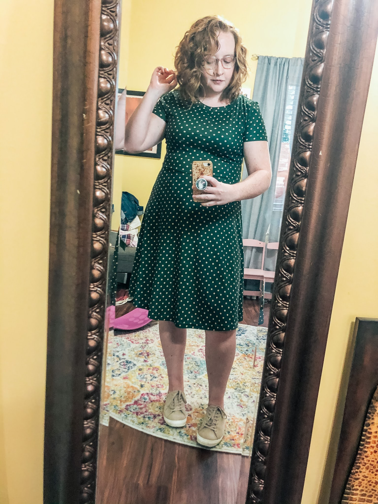 green-polka-dot-dress-taupe-sneakers