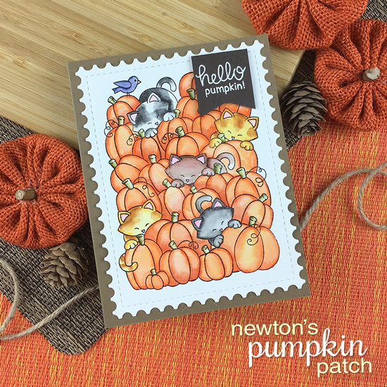 Cats in Pumpkin Patch Card by Jennifer Jackson | Newton's Pumpkin Patch Stamp Set by Newton's Nook Designs #newtonsnook
