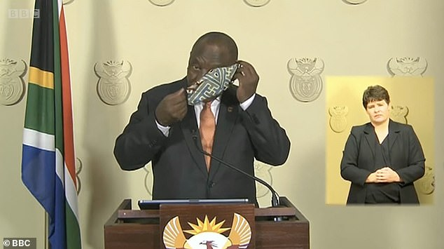 South Africa President Cyril Ramaphosa has face mask issues