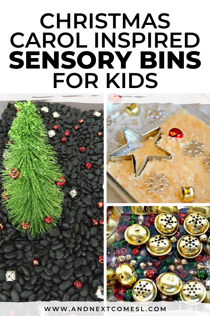 Christmas carol sensory bins: fun Christmas sensory bin ideas for babies, toddlers, or preschool and kindergarten aged kids