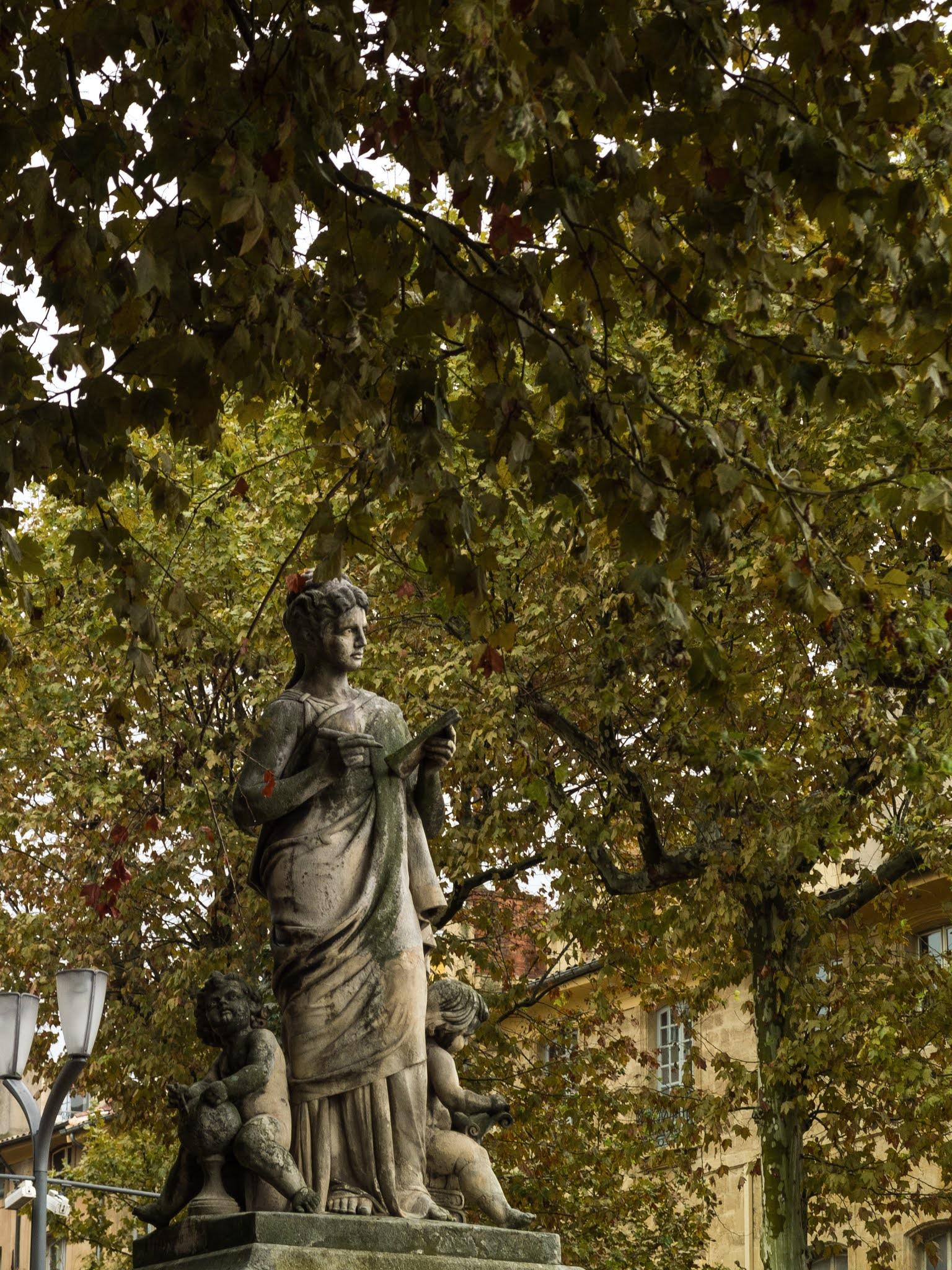 Arts et Sciences Statues on Cours Mirabeau in Aix-en-Provence, Southern France.