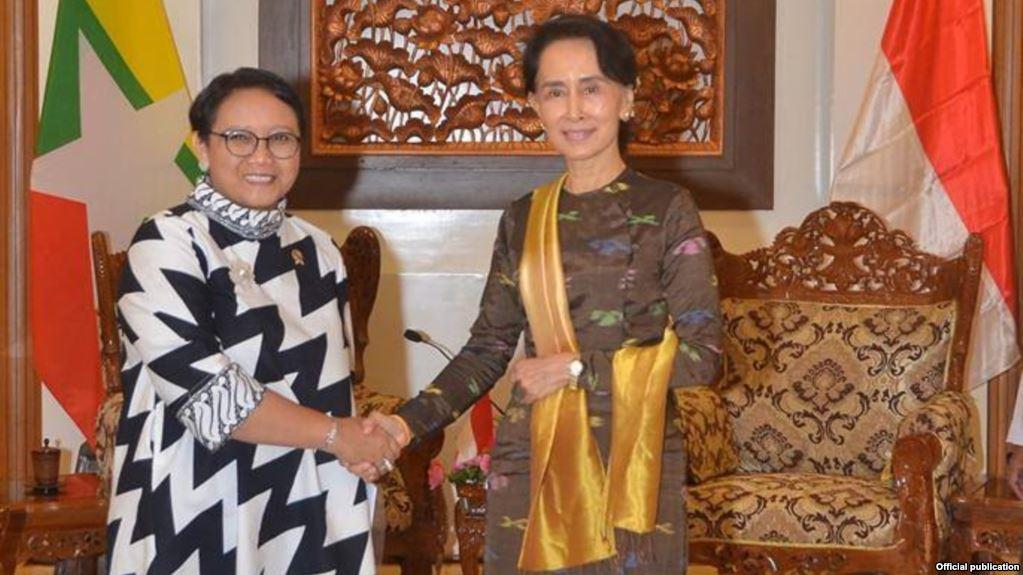 Menlu Retno Suwardi bertemu Aung San Suu Kyi