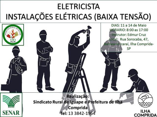 Centro de formação da Ilha informa que estão abertas inscrições para curso do SENAR Eletricista- instalações elétricas