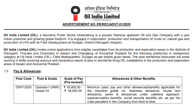 Oil India Limited Recruitment 2020 For 36 OIL Operator Grade-VII
