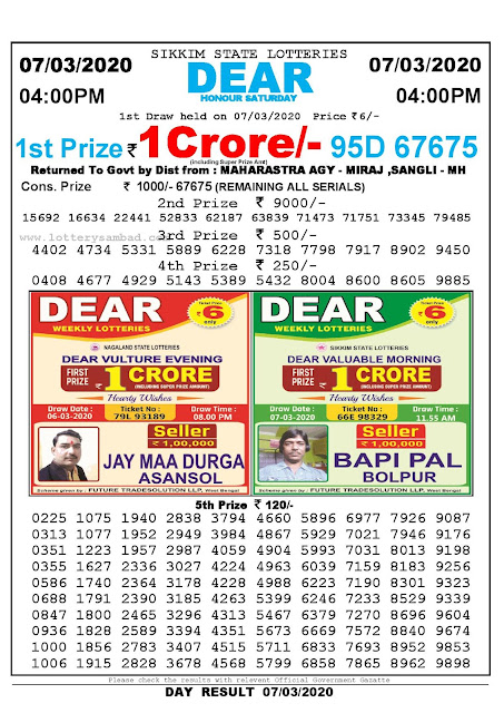 Sikkim State Lotteries 07-03-2020 Lottery Sambad Result 04:00 PM