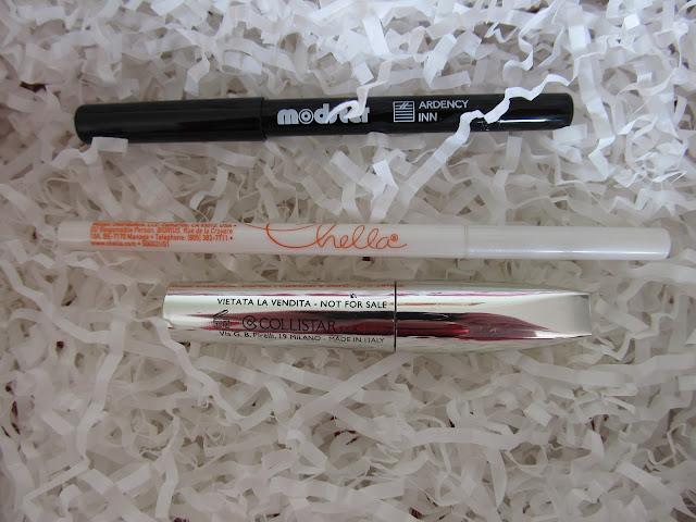 Олівець для очей від Modster, туш Collistar, та тауповий олівець для брів Chella