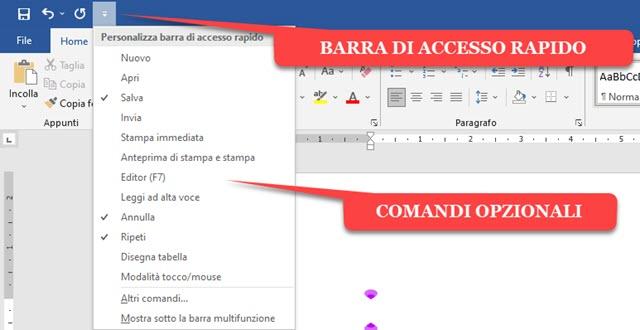 menu della barra di accesso rapido