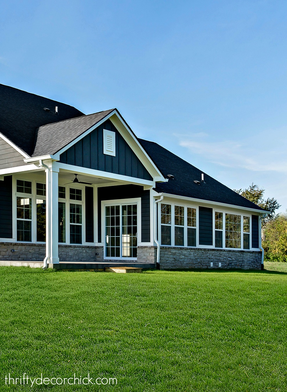 Dark gray craftsman house