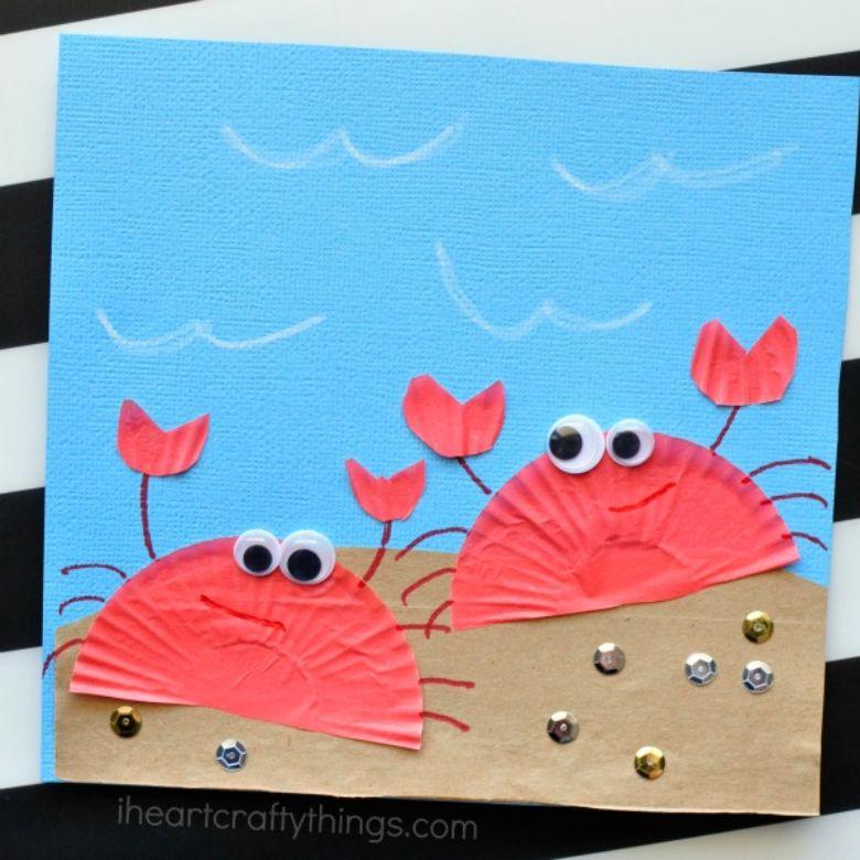 cupcake liner crab under the sea craft