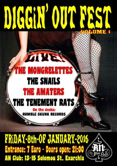 DIGGIN' OUT FEST Vol. 1: THE TENEMENT RATS, THE AMATERS, THE SNAILS, THE MONGRELETTES @ Παρασκευή 8 Ιανουαρίου An Club