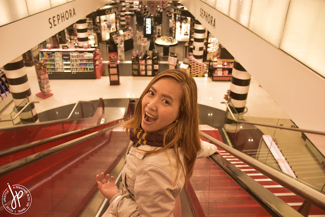 woman, escalator, sephora, makeup