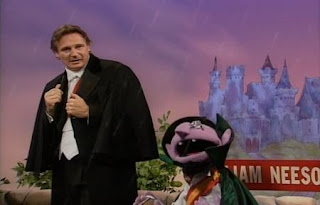 The Count directs Liam Neeson in his new movie, Transylvania 6-5000. Sesame Street Best of Friends