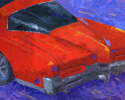 classic car buick gm boat tail original painting palette knife texture art