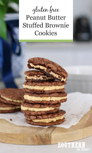 Peanut Butter Stuffed Brownie Cookies Recipe - gluten free, sandwich cookies, copycat butterbing cookies recipe, crumbl cookies recipe