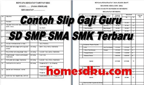 Contoh Slip Gaji Guru SD SMP SMA SMK Terbaru
