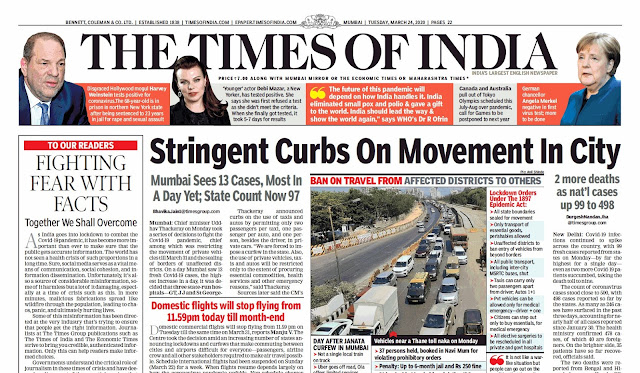 Times Of  India Epaper 24th   March 2020