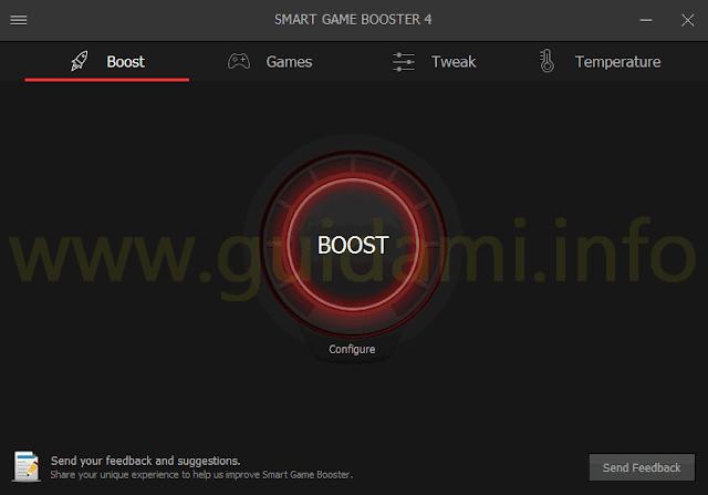 Smart Game Booster scheda e pulsante BOOST