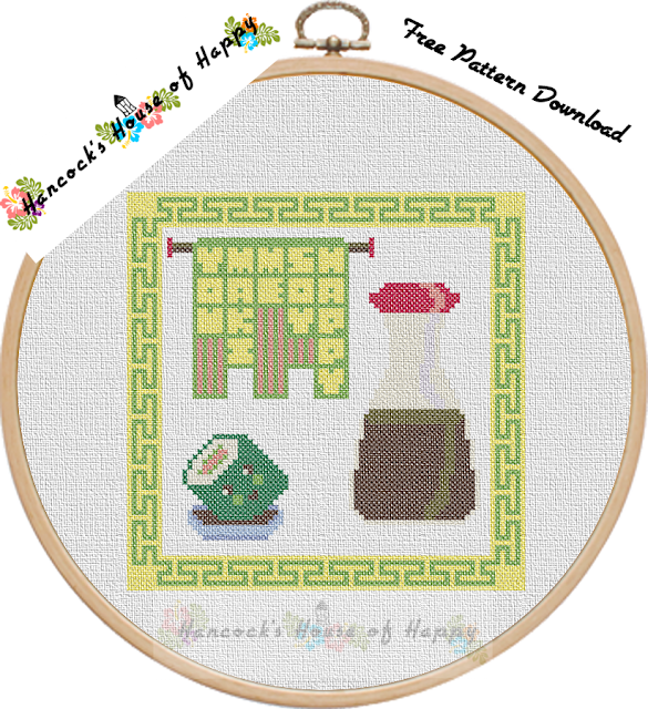 free kawaii sushi cross stitch pattern needlepoint design to download