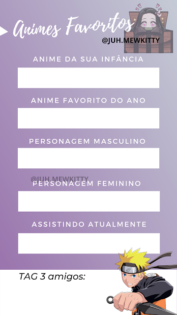 Template de animes favoritos Instagram
